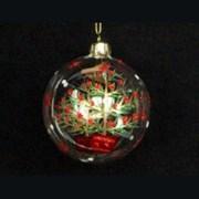 Gisela Graham Clear Glass Ball Robin & Tree (00258)