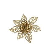 Gisela Graham Acrylic Gold Glitter Poinsetta Clip Dec Small (12708)