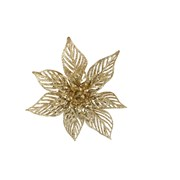 Gisela Graham Acrylic Gold Glitter Poinsetta Clip Dec Large (12709)