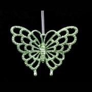 Gisela Graham Pale Green Glitter Butterfly Decs (15350)