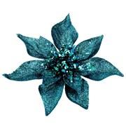 Gisela Graham Acrylic Peacock Glitter Poinsetta Clip Dec (16177)