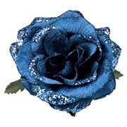 Gisela Graham Fabric Sequin Blue Rose Clip (16179)