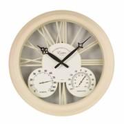 "Smart Garden Exeter Wall Clock And Thermometer Cream 15"" (5061000)"