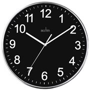 Crewe Chrome Plastic Wall Clock W Blk Dial (22553)