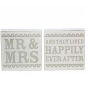 Gisela Graham White/grey Wedding Sentiment Block Ornament (34052)