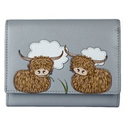 Bella Highland Cow Compact Purse Grey (3490-33 GREY)