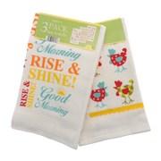 3pk Velour Tea Towels Wakey Wakey (KTS143595)