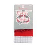 3pk Kitchen Towels Bakers Pompom (KTS177248)
