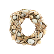 Gisela Graham Plaited Wicker/egg/moss Wreath (41250)