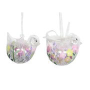 Gisela Graham Pastel Flowers Glass Bird Dec Assted (80477)