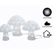 Led 3xacrylic Mushrooms Outdoor Asst 37cm (499516)