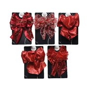 Bow w Wire Christmas Red 15cm (445306)