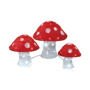 Led 3xacrylic Mushrooms Outdoor Asst (499583)