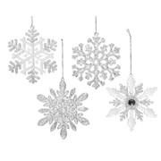 Acrylic Snowflake w Hanger  Asstd (520119)