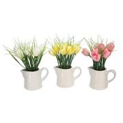 Gisela Graham Pastel Fabric Tulips In White Ceramic Jug (60169)