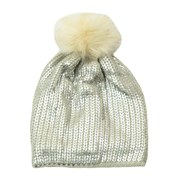 Metallic Knit Hat/pompom (60801)