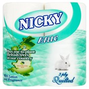 Nicky Elite Toilet Roll White 4pk (415666)