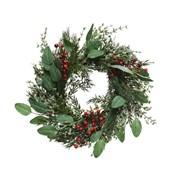 Deco Wreath Leaves Red Berries 40cm (682980)
