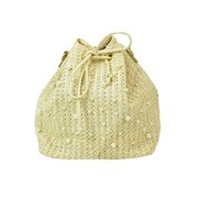 Raffia Drawstring Shoulder Bag (73629)
