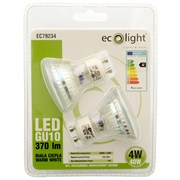 Ecolight 4w Led Gu10 Warm White Light Bulb 2pk (EC79234)
