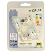 Ecolight 4w Led Gu10 5000k Light Bulb 2pk (EC79235)