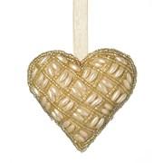 Beaded Hanging Heart Cream D100mm (810592)