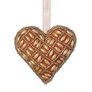 Beaded Hanging Heart Russet D100mm (810594)