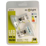 Ecolight 5w Led Gu10 Warm White Light Bulb 2pk (EC79113)