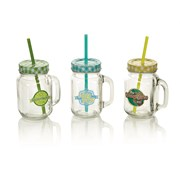 Jam Jar Drinking Glass With Straw (BA161202)