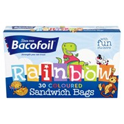Baco Rainbow Coloured Sandwich Bags & Stickers 30s (85B46)