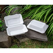 """Swantex Green Bagasse Lunch Box 9x6"""" 100s (LUNCH9B)"""
