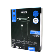 Texet Usb Car Charger & Cable (CARUSB-8)