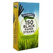Caterpack Biodegradable Black Paper Straws 150s (RY10566)