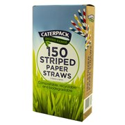 Caterpack Compostable Candy Stripe Paper Straws 150s (30167)