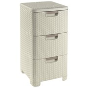 Curver Rattan 3drawer Tower White (206314)