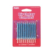 Culpitt Blue Glitter Candles 10s (DP654)