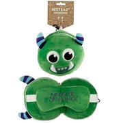 Plush Green Monster Travel Pillow & Mask 17cm (CUSH223)