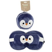 Plush Penguin Travel Pillow & Mask 17cm (CUSH227)