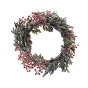 Deco Wreath Berries Snow Grn/red 40cm (685140)