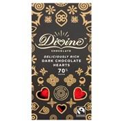 Divine Black Sachet Box Of Rich 70% Dark Choc Hearts 80g (DV701)