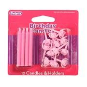 Culpitt Pink Candles & Holders 12s (DP648)