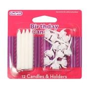 Culpitt White Candles & Holders 12s (DP649)