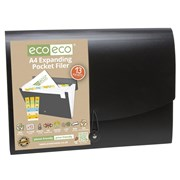 Ecoeco A4 50% Recycled Black Expanding File 13 Poc (eco022)