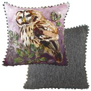 Evans Lichfield Dartmoor Bobble Trim Owl Cushion 43cm (DPB245)