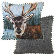 Evans Lichfield Dartmoor Bobble Trim Stag Cushion 43cm (DPB241)