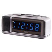 Excelsior Blue Led Alarm Clock Silver (15077)