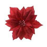 Fabric Poinsettia On Clip Red 24cm (629332)