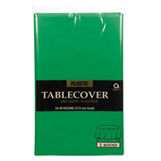 Festive Green Round Plastic Tablecover (77018-03)