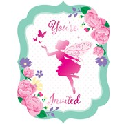 Floral Fairy Sparkle Invitations 8s (PC340145)