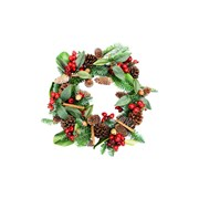 Gisela Graham Fir & Leaf Wreath With Cones Berries & Cinnamon (40649)